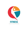 fitness sport - logo template concept vector image