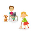 flat kids doing household chores set vector image vector image