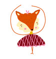 fox bagirl cute print sweet animal with pink vector image