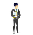 groom holding clipboard with documents vector image vector image