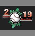 happy new year 2019 and baseball ball vector image