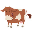 happy spotted milk cow farm animal character vector image vector image
