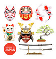 japan art culture elements icons vector image
