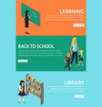 learning back to school library colourful poster vector image