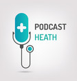 logo or icon podcast health with white background vector image vector image