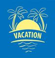 logo sun palm trees sea vector image vector image