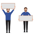 man holding a poster vector image vector image