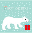 merry christmas greeting card arctic polar bear vector image vector image