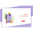 mobile currency exchange landing page template vector image