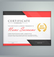 modern certificate design with geometric red and vector image vector image