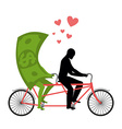 Money for bike Lovers of cycling Man rolls dollar vector image vector image