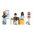 multiethnic business team working in office vector image vector image