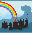 noah and family see a rainbow vector image vector image