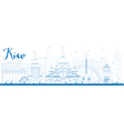 Outline Kiev skyline with blue landmarks vector image