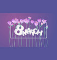 paper cut 3d flowers banner in purple colors vector image vector image
