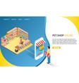 pet shop online landing page website vector image
