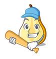 playing baseball character cartoon fresh green vector image