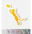 realistic design element cat and butterfly vector image