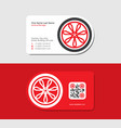 red business card with automobile wheel vector image vector image