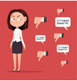 sad unhappy unsuccessful business woman vector image vector image