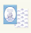 sea travel invitation card with sailing vessels vector image vector image