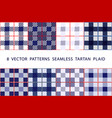 set 8 patterns seamless tartan plaid blue vector image vector image