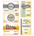 Set of 5 bakery retro business card templates vector image vector image