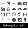 technology icon set 1 gray icons on white vector image vector image