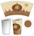 template paper cup with old town and coffee cup vector image vector image