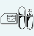 Usb flash memory and mobile phone sim vector image