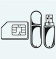 usb flash memory and mobile phone sim vector image