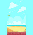 vertical game field green paper airplane flying vector image vector image