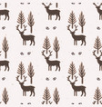 winter rustic tree and reindeer lino cut texture vector image