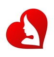 woman face silhouette inside a heart shape vector image vector image