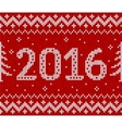 Red knit for 2016 new year seamless vector image