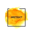 Abstract yellow watercolor splash with square vector image