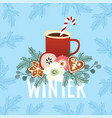 christmas greeting card winter invitation with vector image