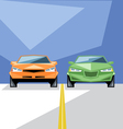 Orange and green cars at start for a racing vector image
