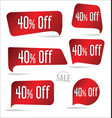 40 percent off red sticker collection vector image