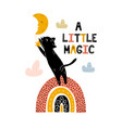 a little magic print with a cute black cat vector image