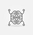 ai digital brain outline concept minimal vector image vector image