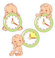 baby little baby with clocks time for baby vector image