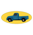 blue pickup on white background vector image vector image