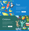 cartoon children toys web banner templates vector image vector image