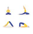 cartoon old woman doing yoga - isolated flat set vector image vector image