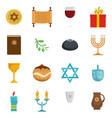 chanukah jewish holiday icons set flat style vector image vector image