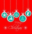 christmas greeting card vintage red card with vector image vector image