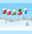 christmas stockings for presents vector image