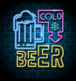 cold beer neon advertising sign vector image vector image