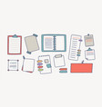 collection notebooks and paper attached vector image vector image